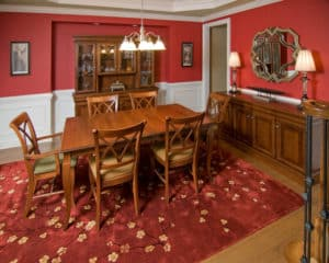 Transitional Style Red Dining Room