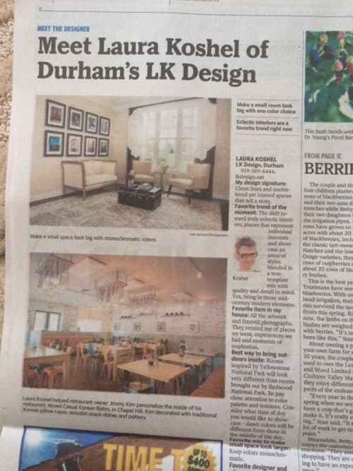 LK Design featured in News & Observer.