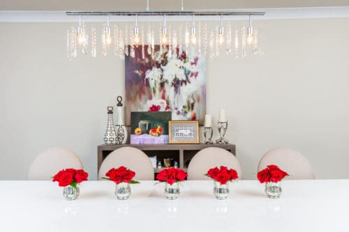 dining room eclectic mix red roses