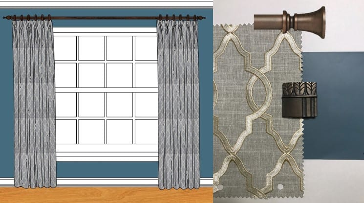 Presentation, drapry panels. hardware.