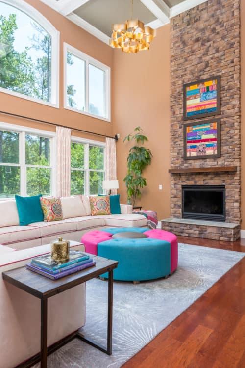 Family room, Window treatmetns, custom art, chandelier