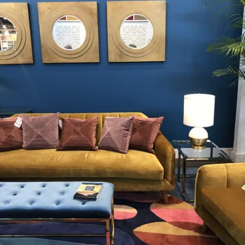 Blue And Butter Scotch Velvet Sofa
