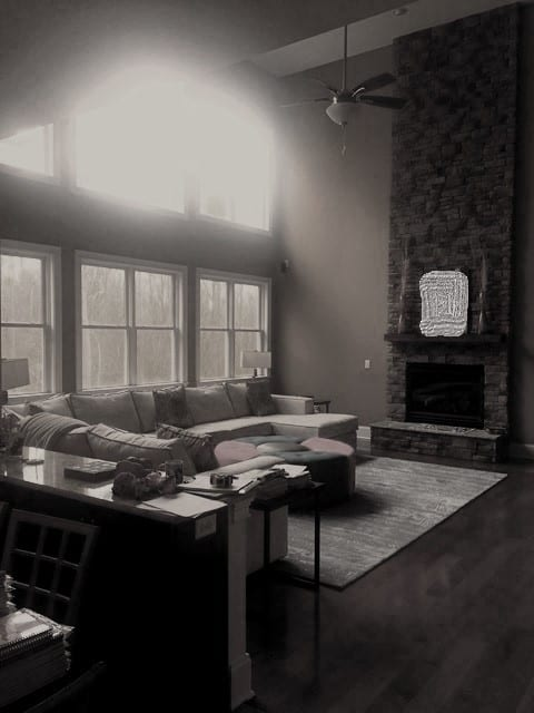 The bare walls and windows create a colder aesthetic