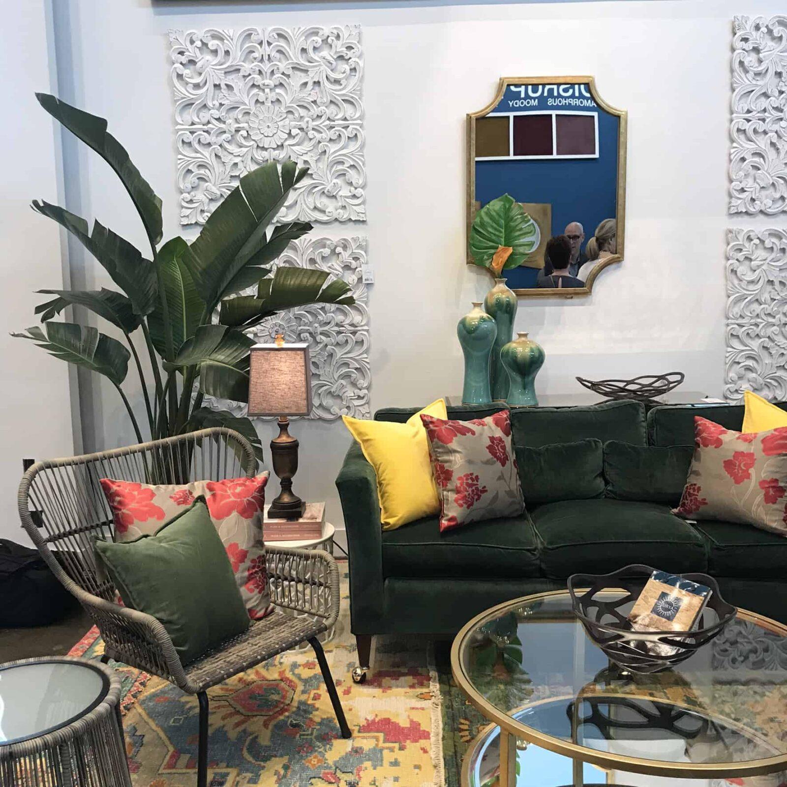 Moss Green Velvet Sofa Yellow Pillows Lk Design Home