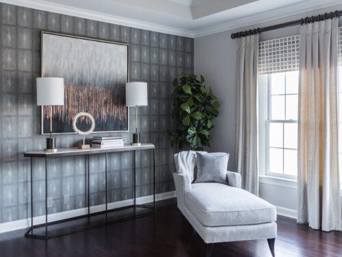 Abstract modern art tall lamps velvet window treatments