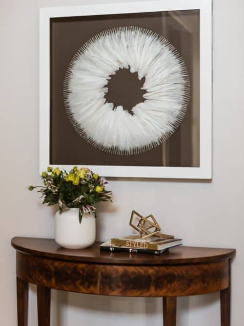 Traditional Consosle Contemporary Feather art