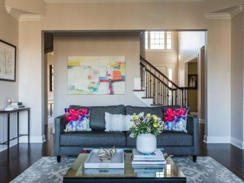 Modern Family Room Gray Sofa Abstract Art