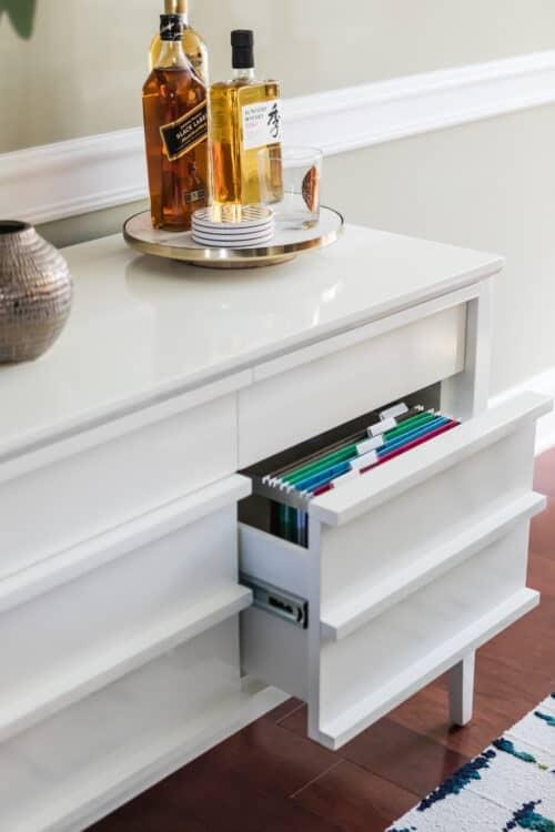 white dresser discreet filing cabinet dining room office