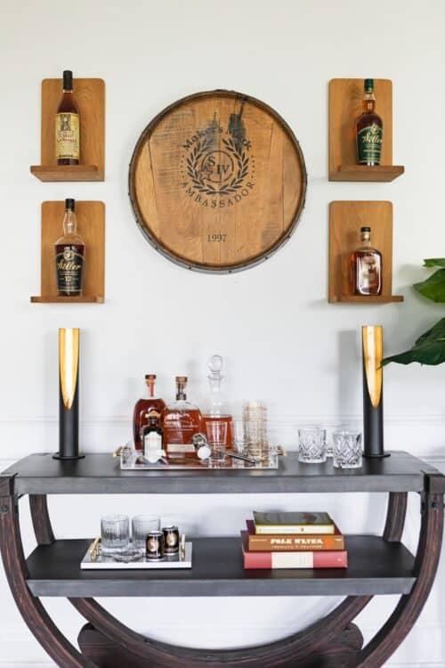interior design home bar unique lighting alcohol tray side table whiskey glasses LK Design