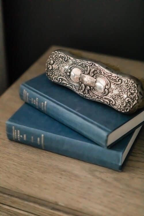 antique silver hair brush two blue books