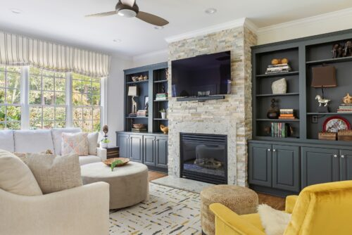interior design living room fireplace and painted shelves