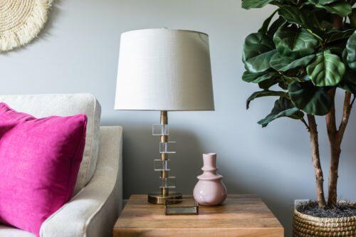 side table lamp pink vase fiddle leaf fig white sofa magenta pink pillow LK Design interior design